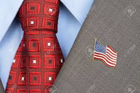 Flag Suit An American Flag Lapel Pin On The Collar Of A Business Suit Jacket