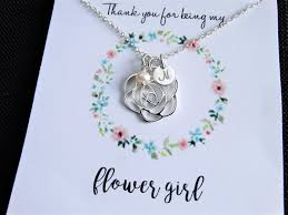 flower girl necklace images Flower girl gift flower girl necklace with message card initial jpg