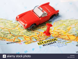 Map Of Istanbul Close Up Of Istanbul Turkey Map With Red Pin And A Car Travel