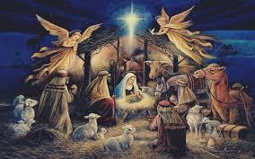 virgin mary jesus christ christmas lights angel night