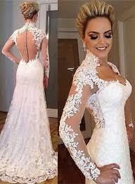 elegant lace appliques high neck wedding dress 2017 long sleeve