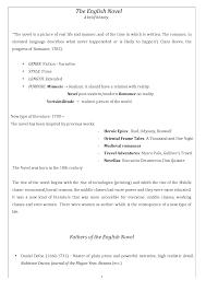 summary of the english novel docsity