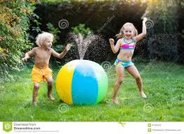 kids playing with water ball toy sprinkler stock photo image