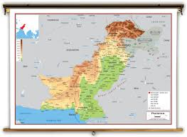 Map Of Asia Countries Pakistan Physical Educational Wall Map From Academia Maps