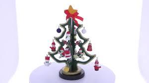 wooden tabletop tree with santa snowman miniature