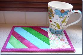Quilted Mug Rug Pattern Quilt As You Go Mug Rug With Self Binding Things To Make