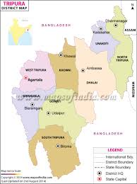North India Map by Tripura Districts Map