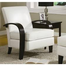 Scroll Arm Chair Design Ideas Wonda White Bonded Leather Accent Chair With Wood Arms Free Within