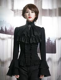 black blouse with white collar ruffle neck sleeve shirt blouse jabot zircon set retro
