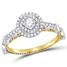 engagement rings sale images 14kt two tone gold diamond solitaire bridal engagement ring 1 2 jpg