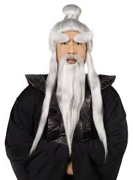 spirit halloween black wigs sensei wig and beard set buycostumes com