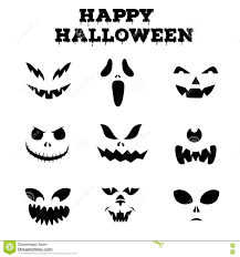 collection of halloween pumpkins carved faces silhouettes black