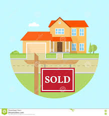 beautiful american house on the blue background with sold sign