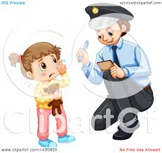 clipart of a lost crying and talking to a police officer