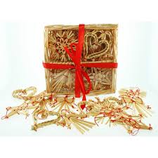 straw ornaments assortment in basket 24 pc home