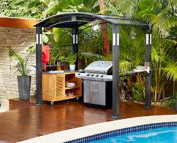 poolside gazebo outdoor kitchen free standing bbq grill wooden