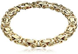 men jewelry bracelet images Men 39 s 14k yellow gold 9 6mm flat byzantine bracelet jpg