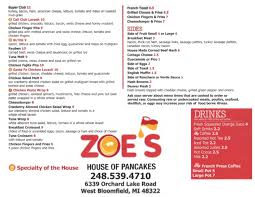 our menu zoe u0027s house of pancakes west bloomfield