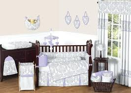 Nursery Bedding And Curtains Purple Crib Bumper Lavender And Gray Baby Bedding Set By Sweet