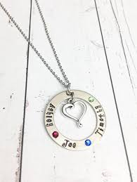Mom Necklace With Kids Names Hand Stamped Mom Necklace With Kids Names Flat Birthstones