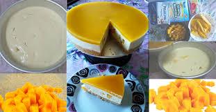 Kek Mango manggo cheese cake tak perlu dibakar bersama tips bergambar