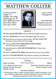 Actor Resume Format Examples Of Actors Resumes