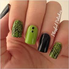 playful polishes 31 day nail art challenge green nails