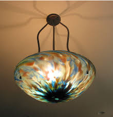Blown Glass Chandeliers Blown Glass Bowl Tripod Chandelier Artisan Crafted Lighting