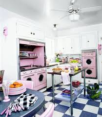 retro kitchen in pink interior design files