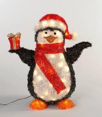 24 8 black lighted penguin outdoor decoration
