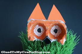 recycled egg carton fox kid craft glued to my crafts