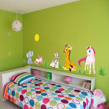 forest animal cartoon wall stickers for kids rooms kindergarten