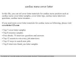 Sample Cover Letter For Nursing Resume by Cardiac Nurse Cover Letter