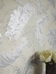 Cream And White Bedroom Wallpaper Gilded Feather White And Silver Wallpaper Graham U0026 Brown