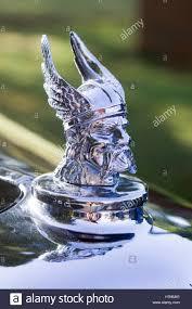 vintage car viking chrome ornament on a rover stock photo
