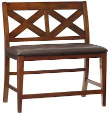 furniture brown wooden counter height benche with back and brown