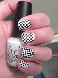 black and white checkered nails polish me please