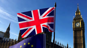 London Flag European Union And British Union Jack Flag Flying In Front Of