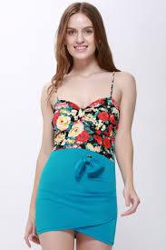 club dresses club dresses sky blue one size floral print splice bowknot