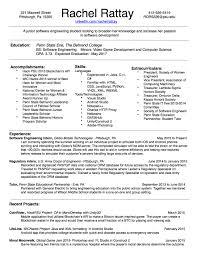 Resume Of College Student Rachel Rattay Software Engineer