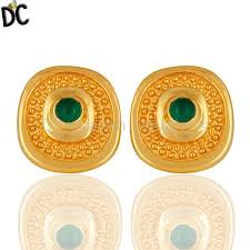 designer stud earrings buy designer jewelry designer 14k yellow gold plated shiny
