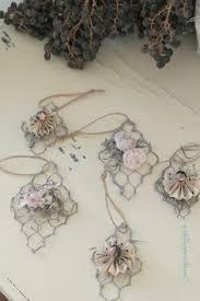 chicken wire ornaments trio silver german glass glitter pinecone