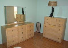 Vintage Mid Century Five Piece Blonde Wood Drew Bedroom Set - Mid century modern blonde bedroom furniture