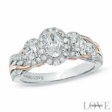 Vera Wang Wedding Rings by Vera Wang Love Collection 1 Ct T W Oval Diamond Three Stone