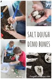 digging for salt dough dinosaur bones