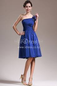 beaded one shoulder chiffon knee length blue bridesmaid dress idress