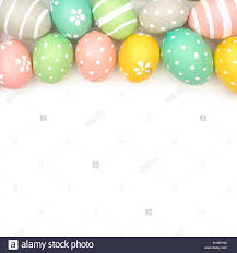 pastel easter eggs top border of painted pastel easter eggs a white