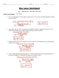 gas laws worksheet answer key gases litre