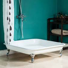 Clawfoot Shower Pan Traditional 1060mm Square Freestanding Cast Iron Shower Tray With