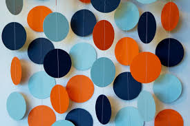 blue and orange decor orange blue navy garland orange blue baby shower decor